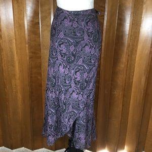 Alfani Purple & Black Paisley Silk Wrap Skirt